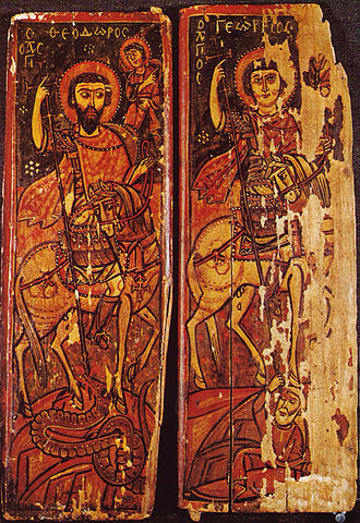 Theodore of Amasea - Saints Theodore and George shown side by side as equestrian heroes. Theodore kills a dragon and George a human enemy.  Saint Catherine's Monastery, Sinai, 9th or 10th century