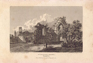 St. Denys Priory - View into the nave of the priory church from approximately the site of the choir in 1804. To the left of the church are the monastic buildings, some of which are apparently in use for farming (note the hay cart). A lady and gentleman plus their dog explore the ruins.