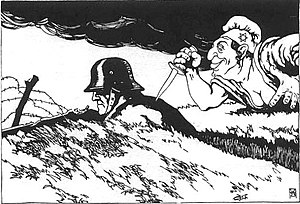 Stab-in-the-back myth - An illustration from a 1919 Austrian postcard showing a caricatured Jew stabbing the German Army in the back with a dagger. The capitulation was blamed upon the unpatriotic populace, the Socialists, Bolsheviks, the Weimar Republic, and especially the Jews.