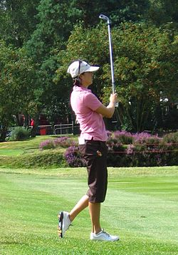 Stacy Prammanasudh playing her approach shot to the second green during last practive round at Ricoh WBO 08.jpg