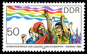 12th World Festival of Youth and Students - DDR stamp commemorating the 12th World Festival of Youth and Students, 1985. MiNr 2960