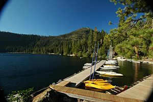Fallen Leaf Lake (California) - Stanford Sierra Camp on the calm waters of Fallen Leaf Lake