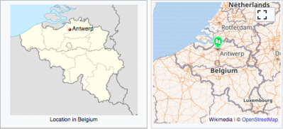 A static locator map of Antwerp as seen on English Wikipedia today (left) is compared with a dynamic mapframe map (the green marker is optional).