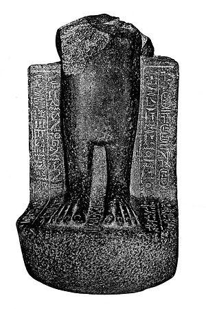 Pebatjma - Statue CG42198 of Amenardis I, bearing the cartouche of her mother Pebatjma between her feet