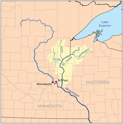 Map of the St. Croix watershed.