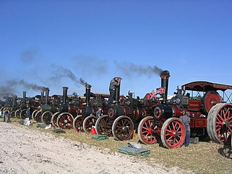 Tarrant Hinton - A line of traction engines at the Great Dorset Steam Fair 2005
