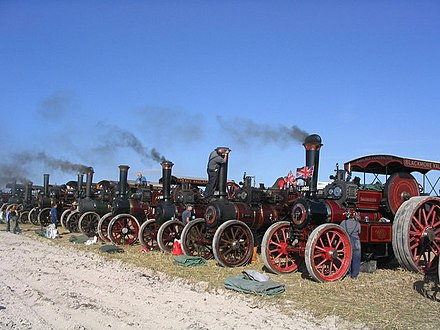 Traction engines on display at the Great Dorset Steam Fair