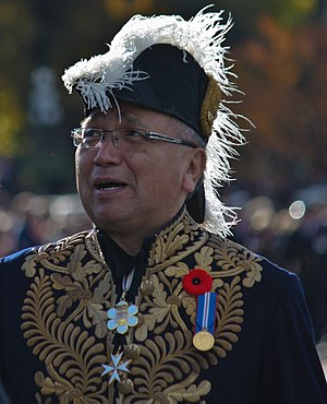 Order of British Columbia - Steven Point, Lieutenant Governor of British Columbia from 2007 to 2012, wearing the insignia of the Order of British Columbia at centre top