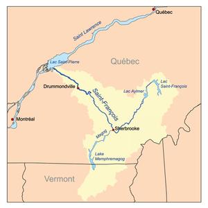 Magog River - Image: Stfrancoisrivermap