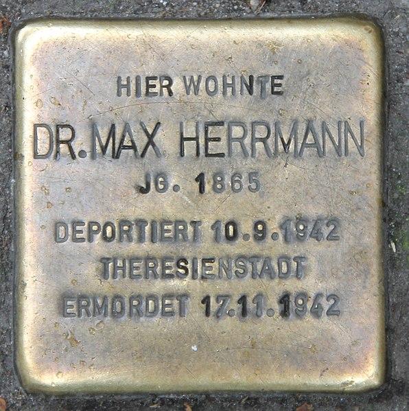 Datei:Stolperstein Augsburger Str 42 (Charl) Max Herrmann.jpg
