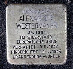 Photo of Alexander  Westermayer brass plaque