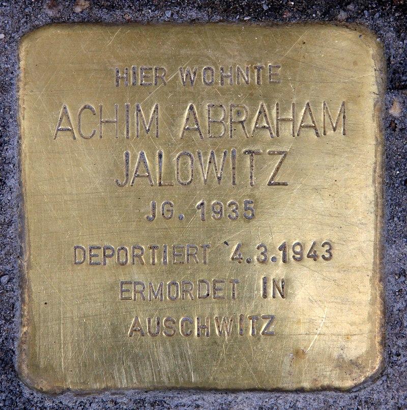 Stolperstein Danziger Str 92 (Prenz) Achim Abraham Jalowitz.jpg
