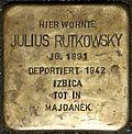 Stumbling stone for Julius Rutkowsky (Mauritiuswall 85)
