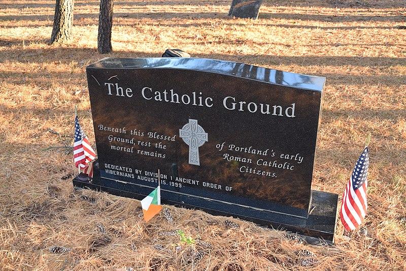 File:Stone marking the Catholic Ground in the Western Cemetery, Portland, Maine.JPG