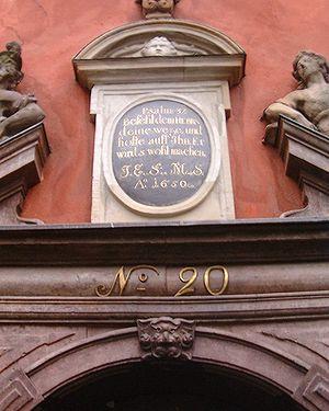 Inscription over the front door of 20, Stortor...