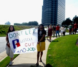 Russell Brands - Members of United Students Against Sweatshops march outside of Russell Corporation's offices in Atlanta, GA.