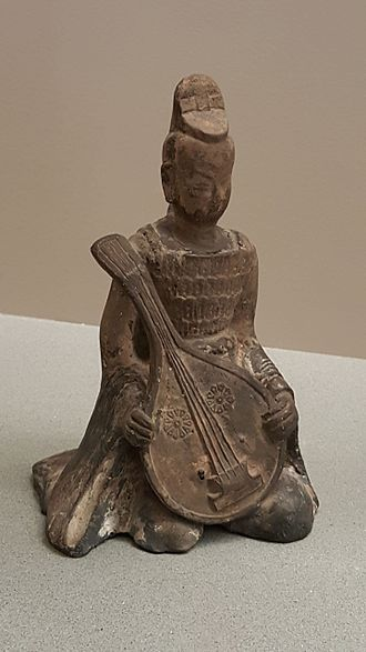 Sui dynasty - Model of a Pipa Player, Sui Dynasty
