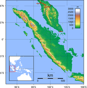 Topographic map of Sumatra. Created with GMT f...