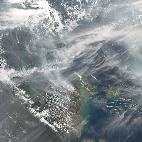 Satellite photo of pollution from peat fires on Sumatra, October 2006