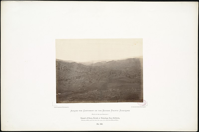 File:Summit of Sierra Nevada at Tehachapa Pass, California, February, 1868; 4,008 feet above the ocean, 1,701 miles from Missouri River. (Boston Public Library).jpg