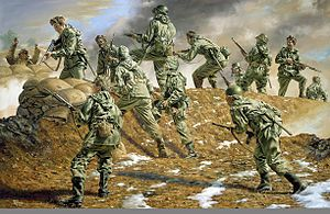 40th Infantry Division (United States) - Painting of the 40th Infantry Division in the Kumwha Valley