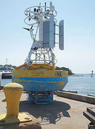 Mooring (oceanography) - WHOI moored surface buoy with meteorological sensors and satellite transmitters