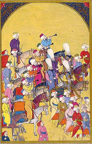 Ottoman Bulgaria - Christian-born Devşirme, would later serve in the elite Jannisary. In this miniature Janissaries march to the tunes played by the Mehter.