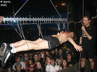Suspension (body modification) - Hook suspension at an event