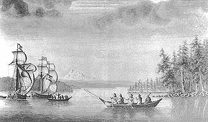 José Cardero - Ships Sutil and Mexicana, during the Dionisio Alcalá Galiano expedition made in 1792 in British Columbia (Canada). Drawing by Cardero