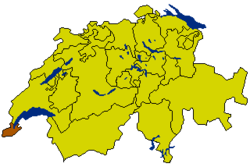 Map of Switzerland, location of ایالت ژنو highlighted