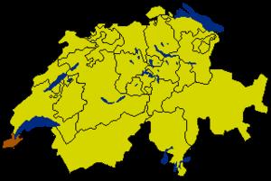 Республика и кантон Женева на карте