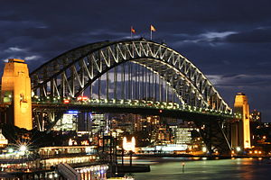 The Harbour Bridge in Sydney as seen from the ...