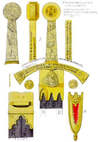 Graphic documentation of the Szczerbiec, a sword that was traditionally used in the coronation ceremony of Polish kings, 12th-13th century. Szczerbiec.PNG