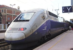 Transport in France - A high-speed double-decker TGV train in Toulon