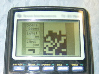 Mobile game - Clone of Tetris being played on a TI-83 Plus