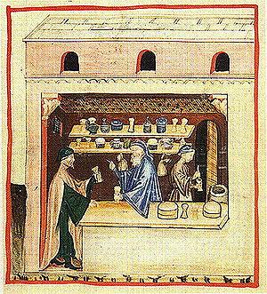 Theriac - Preparation of Theriac: Illustration from the Tacuinum sanitatis.