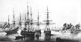 Dupetit Thouars taking over Tahiti on September 9th, 1842.