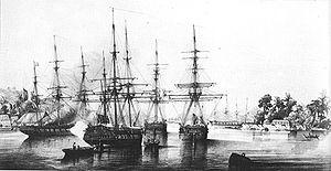 Abel Aubert Dupetit Thouars taking over the Tahiti archipelago on September 9, 1842.