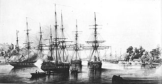 French Navy - Abel Aubert Dupetit Thouars taking over Tahiti on 9 September 1842. July Monarchy.