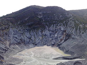 West Java - View of the mount and the crater of Tangkuban Parahu, Bandung