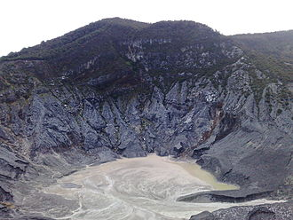 Volcanic crater - The volcanic crater of a Tangkuban Parahu mount, Bandung, Indonesia