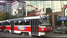 Файл:Tatra T3 MTTA-2 2301-2302 - opening line at Lesnaya street.webm