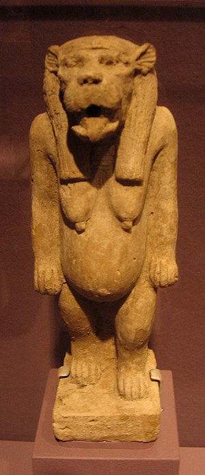 Taweret - This clay statuette of Taweret was found in a foundation deposit under the enclosure wall of the pyramid of the Nubian King Anlamani (c. 623–595 BCE). Museum of Fine Arts, Boston.