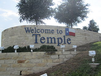 Temple, Texas - Temple welcome sign on Interstate 35