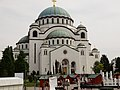 Temple of Saint Sava in Belgrade orthodox easter market in front 2016.jpg