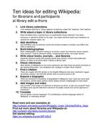 Ten ideas for editing Wikipedia handout for library editathons.pdf