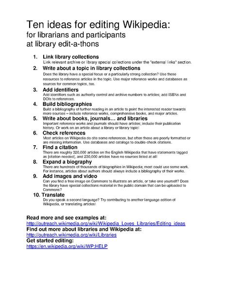 File:Ten ideas for editing Wikipedia handout for library editathons.pdf