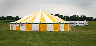 Tent revival - A marquee tent set up for a tent revival in rural Pennsylvania, 2008