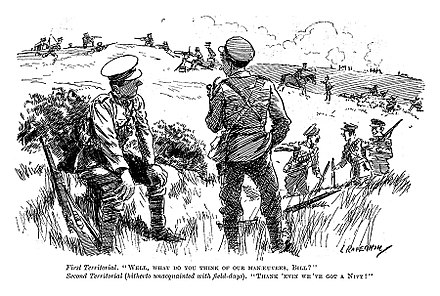 """Thank heavens we've got a navy"". Contemporary perception of the Territorial Force's ability to defend the nation against invasion, published in Punch less than three months before the start of the First World War. Thank heavens we got a navy.jpg"