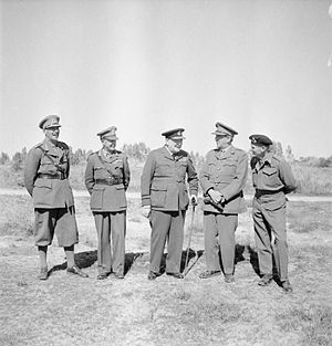 Oliver Leese - The British Prime Minister, Winston Churchill, with military leaders during his visit to Tripoli, February 1943. The group includes: Lieutenant General Sir Oliver Leese, General Sir Harold Alexander, General Sir Alan Brooke and General Sir Bernard Montgomery.